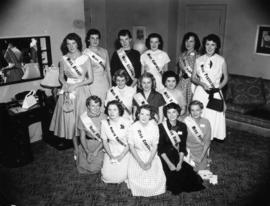 Miss P.N.E. contestants group photograph in lounge