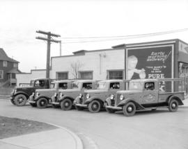 Hilton Dairy fleet of trucks [beside 6395 Fraser Street]
