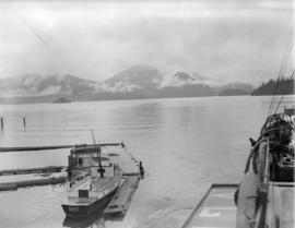[Looking across the water from] Pacific Mills [dock on the] Queen Charlotte Islands