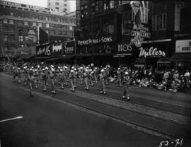 Military band marching in 1953 P.N.E. Opening Day Parade