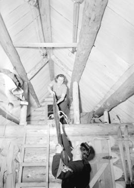 [Skiers in Enquist Lodge, Mt. Seymour, B.C.]