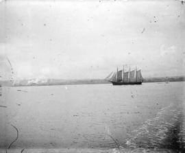 [Four masted schooner ship in harbour]