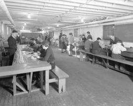 [Students and teachers in craft work shop in] School for Deaf and Blind [4100 West 4th Avenue]
