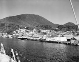 [View of Ketchikan Alaska waterfront and buildings]