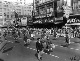 Girls marching band in 1955 P.N.E. Opening Day Parade