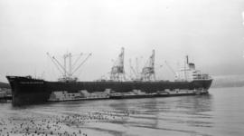 M.S. Tokyo Olympics [at dock, with lumber-filled barges alongside]