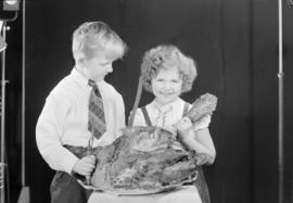 Caroline and Bobby with turkey