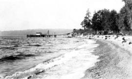 [View along beach toward Selma Park dock]
