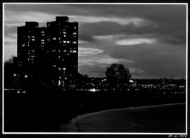 View of English Bay Bathhouse and towers at night