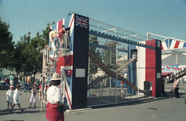 Expo '86 slide play structure decorated with British flags