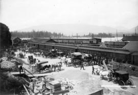 [The first C.P.R. station yard at the foot of Howe Street]