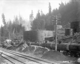 [Storage tanks and railway tanks at Imperial Oil Company refinery in Burnaby]
