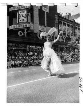Woman dancing in 1956 P.N.E. Opening Day Parade