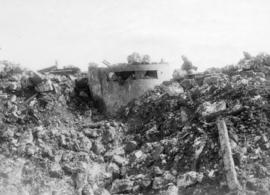 The taking of Vimy Ridge.  A German machine gun emplacement in the village of Thelus