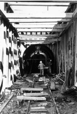 Highbury tunnel with workers