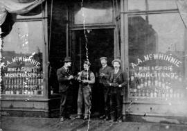 [Exterior of A.A. McWhinnie Wine and Spirit Merchant at 55 East Hastings Street]