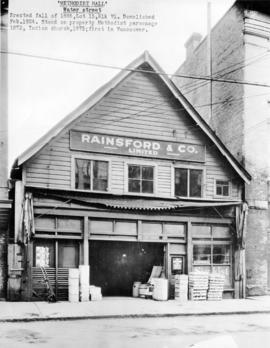 [Exterior of Rainsford and Company (formerly the Methodist Hall) at 115 Water Street]