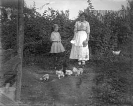 [Annie, Jean and Jack Davidson feeding chickens]