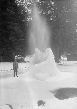 Man beside frozen fountain in Stanley Park
