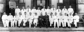 [Group photograph of Vancouver General Hospital Interns, Dr. Heywood and Dr. Stalker with Dr. D.S...