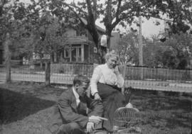Walter Francis Ing and mother in yard of 3350 Manitoba St.