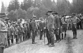 [General Baden-Powell inspects troops of Boy Scouts at Hastings Park]