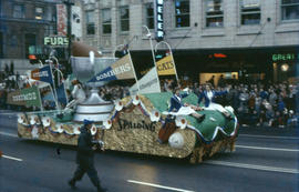 [Parade, downtown Vancouver, football float]