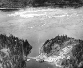 [Aerial view of Ripple Rock prior to blasting in the Seymour Narrows ]