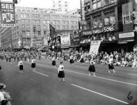 Blaine High School girls marching in 1955 P.N.E. Opening Day Parade