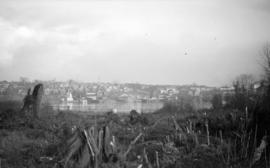 [View of the West End across False Creek from the Burrard Bridge site]