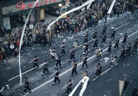 43rd Grey Cup Parade, on Granville Street, Royal Canadian Navy marching band, ticker tape, and sp...