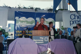 Pat Carney speaking at Vancouver's 99th birthday celebration at the Vancouver Museum