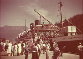 "Union Steamship ""Lady Alexandra"" and passengers at Bowen Island Wharf"