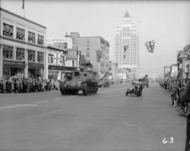 Tank in World War II parade on Burrard Street