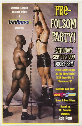 Western Canada Leather Pride and badboys presents Pre-Folsom Party : Saturday, Sept. 18, 1999 : P...