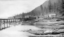 North Pacific Cannery [showing] new Indian wharf houses and approach