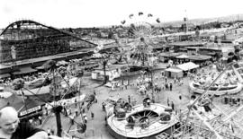 View of amusement rides in P.N.E. Playland