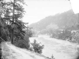 Suspension bridge, on the Cariboo Road, at Spuzzum, B.C., C.P.R. in Fraser Canyon