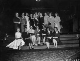 Group portrait of Miss P.N.E. (Lynn Adcock) and other Miss P.N.E. contestants