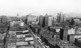 Looking north from roof of Hotel, Vancouver, B.C.  Granville Street in foreground