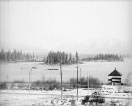 [View of Coal Harbour, Deadman's Island, part of Stanley Park, and the North Shore mountains from...