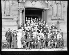 Homer Street Methodist Church with congregation assembled outside