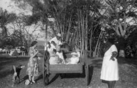 Children and adults in wooden cart, dog in view