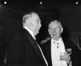 Barossa Day dinner, Hon. Frank Ross and Norman MacKenzie conversing