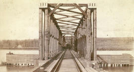 View of Mission Branch Bridge (C.P.R.) from the South Side, showing First Train to cross, Mission...