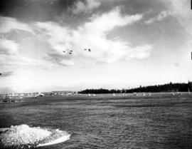 [View from the north side of the First Narrows of the flotilla escorting King George VI and Queen...