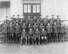 [Officers of the 29th Battalion C.E.F. on the steps of the Industrial Building at Hastings Park]