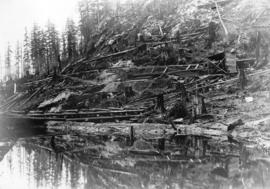 [Dam construction at Buntzen Lake]