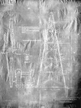 "Details of 60' ""A"" frame [used for overhead cableways in construction of Coquitlam..."