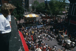 View from above of Fire Department Band gathered at Gastown Vancouver Day celebration